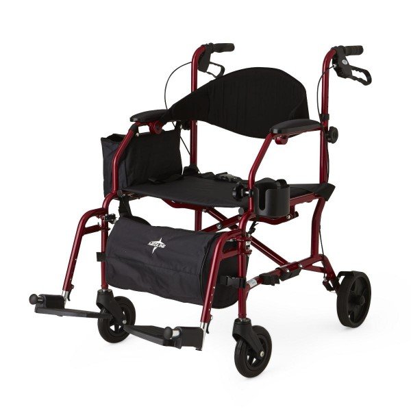 TRANSLATOR ROLLATOR/TRANSPORT CHAIR RED