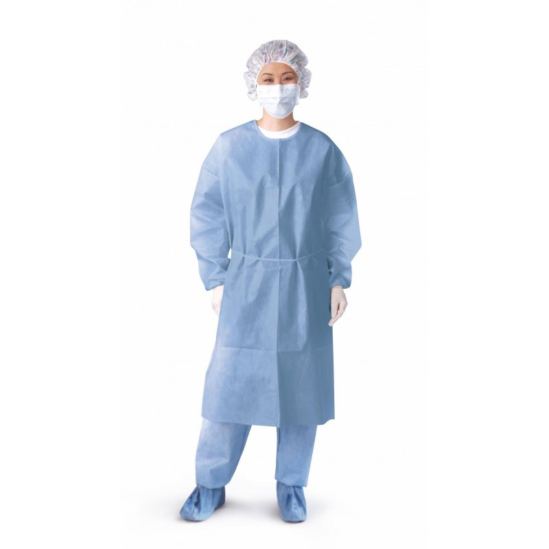GOWN ISO POLY CTD CLSDBCK KNTCUF BLUE RG Case of 50